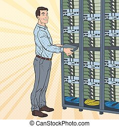 Pop Art Network Engineer Working with Hardware Data Center. Build Server Database. Technicianin Server Room. Vector illustration