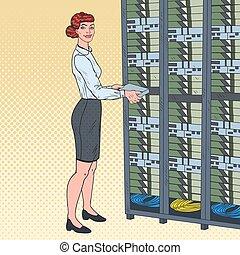 Pop Art Network Female Engineer in Hardware Data Center. Technicianin Build Server Database. Vector illustration