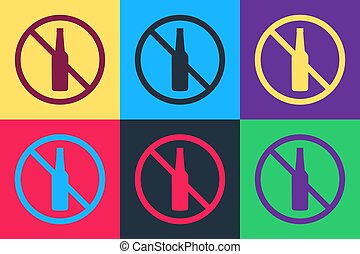 Pop art No alcohol icon isolated on color background. Prohibiting alcohol beverages. Forbidden symbol with beer bottle glass. Vector