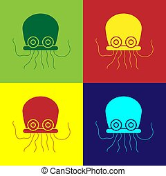 Pop art Octopus icon isolated on color background. Vector