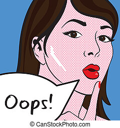 Pop art inspired vector artwork of a lady, text in speechbubble can be removed.