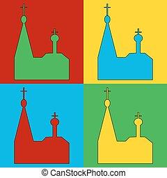 Pop art orthodox church symbol icons.