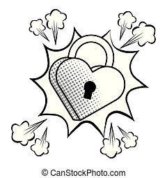 Pop art padlock heart shape in black and white