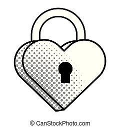 Pop art padlock heart shape in black and white