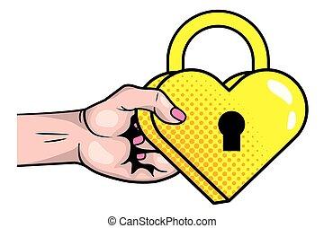 Pop art padlock heart shape
