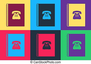 Pop art Phone book icon isolated on color background. Address book. Telephone directory.  Vector