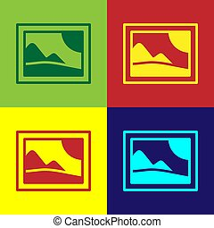 Pop art Picture landscape icon isolated on color background.  Vector