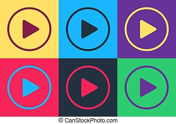 Pop art Play icon isolated on color background. Vector