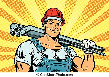 pop art plumber worker with adjustable wrench