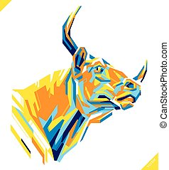 Pop art portrait of beautiful bull. Vector illustration