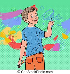Pop Art Preschool Boy Drawing on the Wall. Joyful Child Painting with Crayons on Wallpaper. Vector illustration