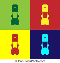 Pop art Priest icon isolated on color background. Vector Illustration