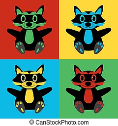 Pop art raccoon symbol icons.