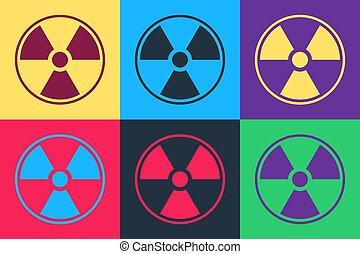 Pop art Radioactive icon isolated on color background. Radioactive toxic symbol. Radiation Hazard sign. Vector.