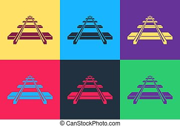 Pop art Railroad icon isolated on color background. Vector