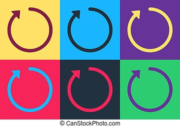 Pop art Refresh icon isolated on color background. Vector