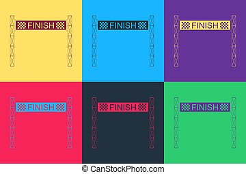 Pop art Ribbon in finishing line icon isolated on color background. Symbol of finish line. Sport symbol or business concept. Vector