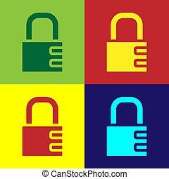 Pop art Safe combination lock icon isolated on color background. Combination padlock. Security, safety, protection, password, privacy. Vector