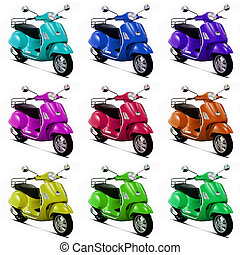 Pop art scooter - Nine scooters in random colours.