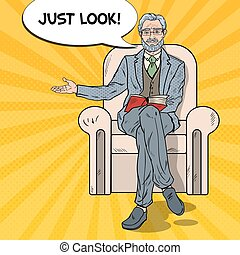 Pop Art Senior Businessman Sitting in Chair and Pointing. Vector illustration