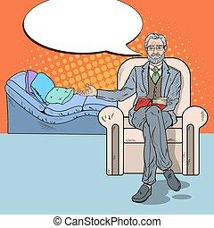 Pop Art Senior Psychotherapist with Comic Speech Bubble....