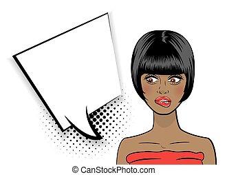 Pop art sexy shocked African American black woman