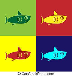Pop art Shark icon isolated on color background. Vector