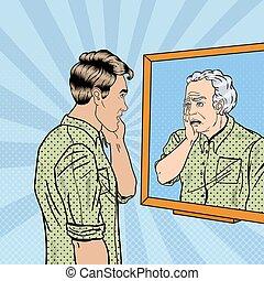 Pop Art Shocked Man Looking at Older Himself in the Mirror. Vector illustration