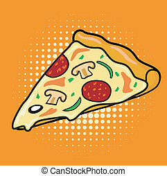 Pop art slice of Pizza - delicious slice of pepperoni...