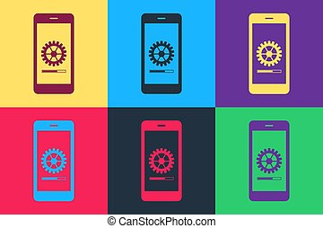 Pop art Smartphone update process with gearbox progress and loading bar icon isolated on color background. System software update and upgrade concept.  Vector