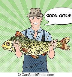 Pop Art Smiling Fisherman with Big Fish. Good Catch. Vector illustration