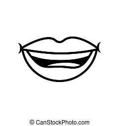 Pop art smiling mouth line style