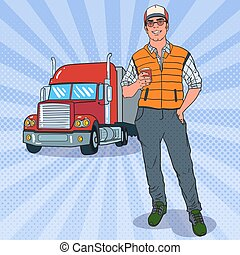Pop Art Smiling Trucker Standing in front of a Truck. Professional Driver. Vector illustration