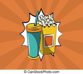 Pop art soda and pop corn HD definition - Pop art soda and...