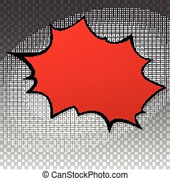 Pop art splash background, explosion in comics book style, blank layout template with halftone dots, cloud beams, dots pattern on transparent backdrop. Vector template for ad, covers, posters