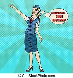 Pop Art Stewardess. Airplane Tourism. Stewardess Welcomes on Board. Vector illustration