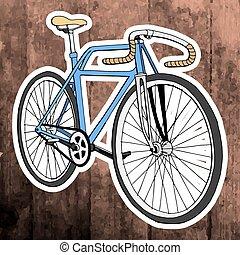 Pop art sticker. Hand drawing retro bicycle. Vector illustration