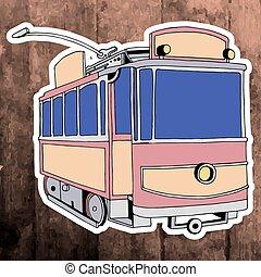 Pop art sticker. Hand drawing retro tram. Vector illustration