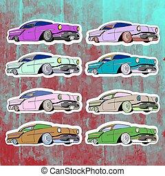 Pop art stickers set. Hand drawing lowrider.Vector illustration