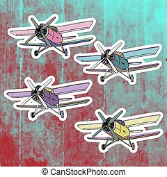 Pop art stickers set. Hand drawing retro airplane. Vector illustration