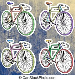 Pop art stickers set. Hand drawing retro bicycle. Vector illustration
