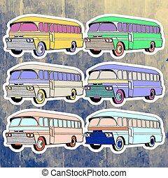 Pop art stickers set. Hand drawing retro bus. Vector illustration