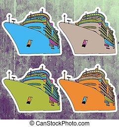 Pop art stickers set. Hand drawing retro cruise liner. Vector illustration