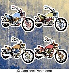 Pop art stickers set. Hand drawing retro motorbike. Vector illustration