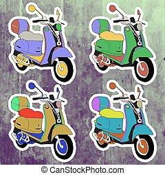 Pop art stickers set. Hand drawing retro scooter. Vector illustration