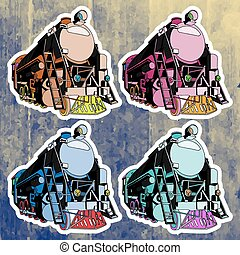 Pop art stickers set. Hand drawing retro train. Vector illustration