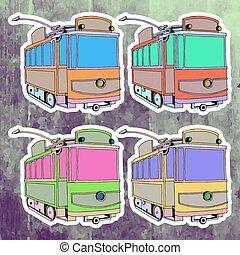 Pop art stickers set. Hand drawing retro tram. Vector illustration