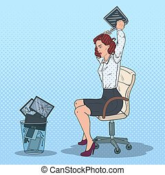 Pop Art Stressed Business Woman Throwing Laptop to the Trash Bin. Angry Office Worker. Vector illustration