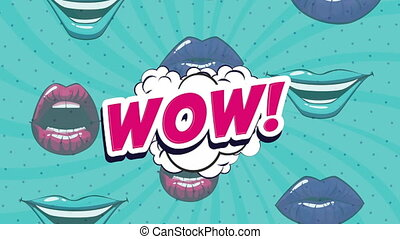 pop art style animation with mouths and wow word ,4k video animated