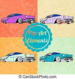 Pop art style elements. Set of vector lowriders